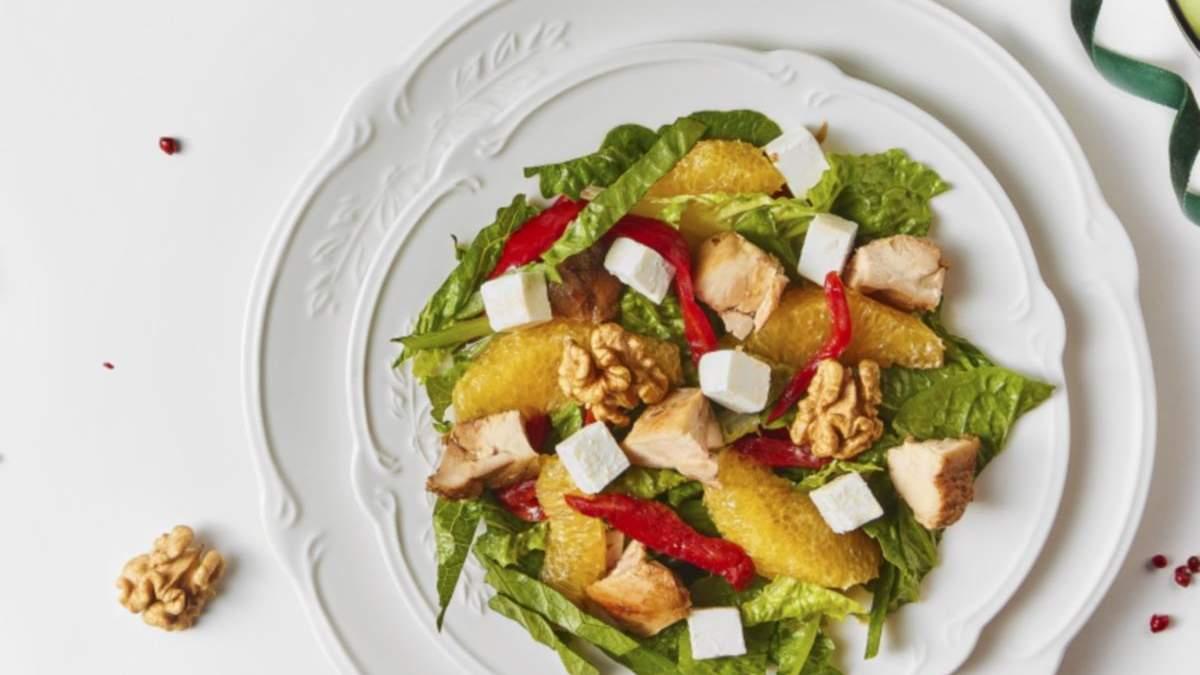 Салат с курицей, апельсином, орехами и брынзой: простой рецепт