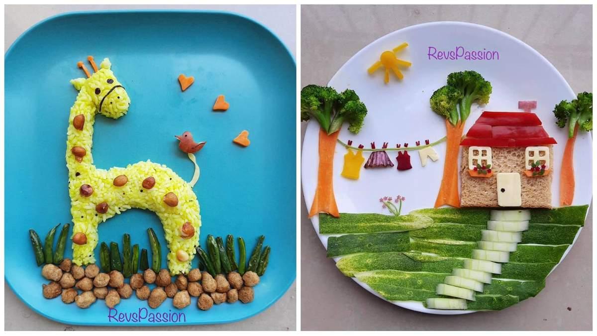 Як заохотити дітей харчуватися корисно: мама створює казкові сцени на тарілках