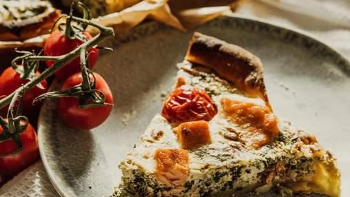 Киш с лососем, помидорами и брокколи: домашний рецепт