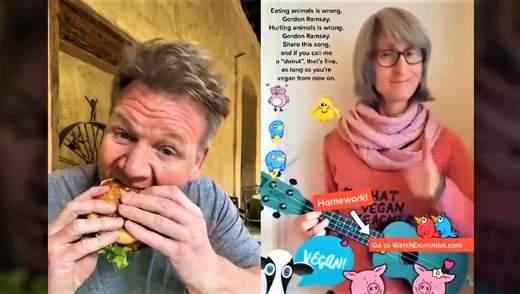 Кухар Гордон Рамзі відповів веганці, яка заспівала для нього пісню про м'ясо у тіктоці: відео